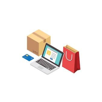 Boutique en ligne et concept de magasinage en ligne. commerce électronique et service de livraison isométrique