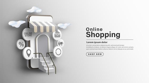 Boutique en ligne dans l'illustration d'arrière-plan du smartphone avec un design 3d