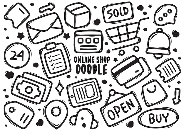 Boutique en ligne doodle élément dessiné à la main
