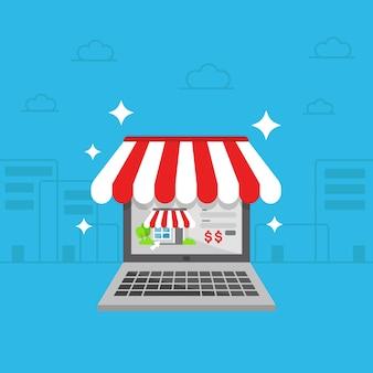 Boutique en ligne sur l'illustration de l'ordinateur portable