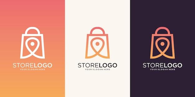 Boutique en ligne logo design vecteur vente icône symbole du marché
