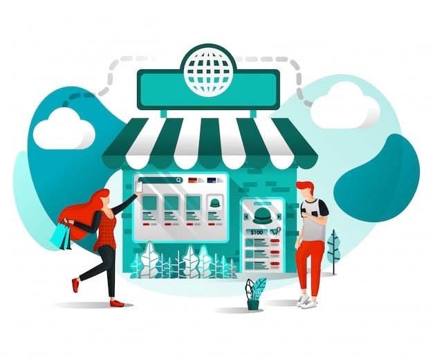 Boutique en ligne ou marché illustration plate