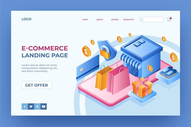 Boutique en ligne de page de destination de commerce électronique isométrique
