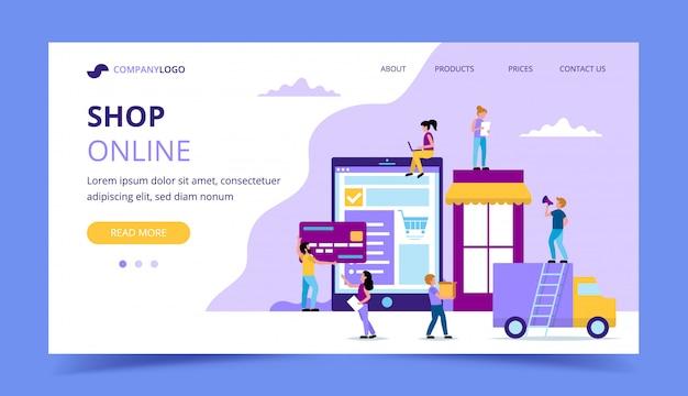 Boutique en ligne page de destination