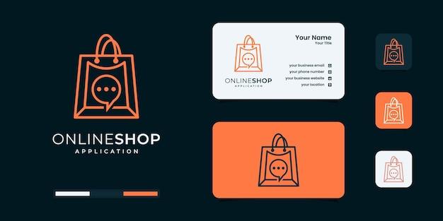 Boutique en ligne, sac combiné avec le modèle de conception de logo de curseur