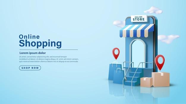 Boutique en ligne sur smartphone avec illustration 3d