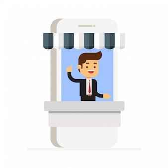 Boutique en ligne sur smartphone. marketing commercial et numérique