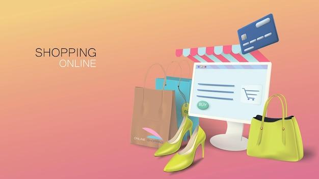 Boutique en ligne sur votre ordinateur personnel. bannière conceptuelle pour le web avec des produits et des sacs réalistes.
