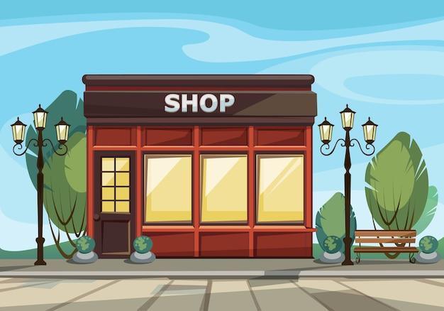 Boutique magasin avec fenêtres, verdure, lanternes