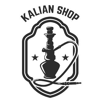 Boutique de narguilé. modèle d'emblème avec narguilé. élément de design pour logo, étiquette, signe.