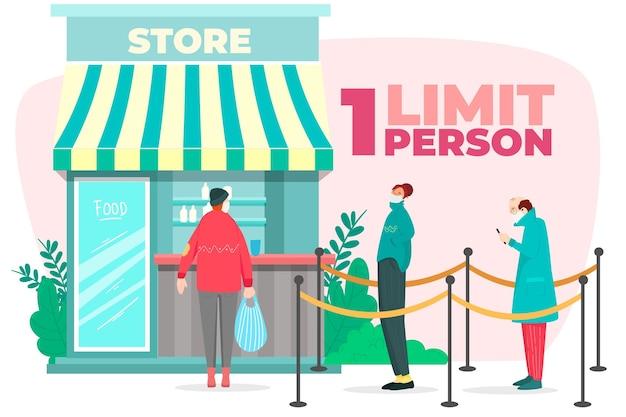 Boutique avec un nombre limité de personnes