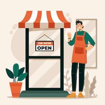 Boutique avec panneau ouvert
