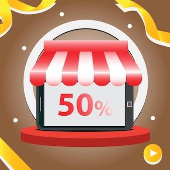 Boutique de smartphones avec auvent rouge et illustration de fond en or marron