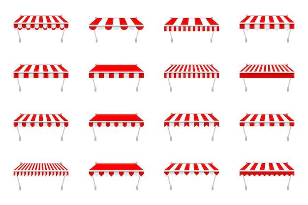 Boutique de tentes auvent pour fenêtre. auvent de marché extérieur, toit de magasin vintage.