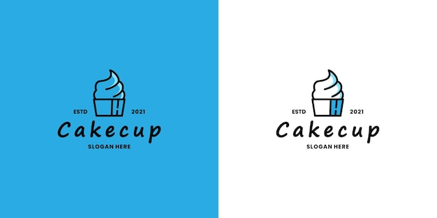 Boutique de vecteur de conception de logo de gâteau, restaurant de nourriture culinaire