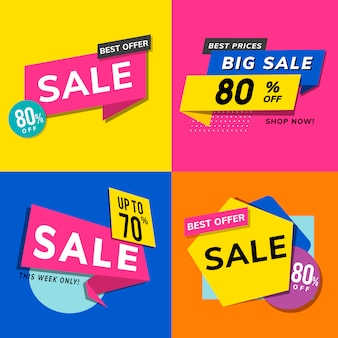 Boutique vente promotion annonces set vector