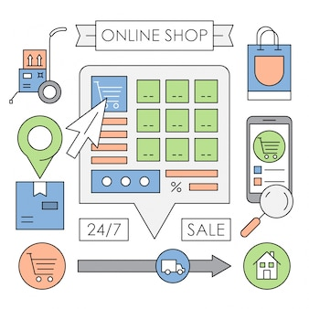 Boutique web linéaires éléments vectoriels dans un design minimaliste