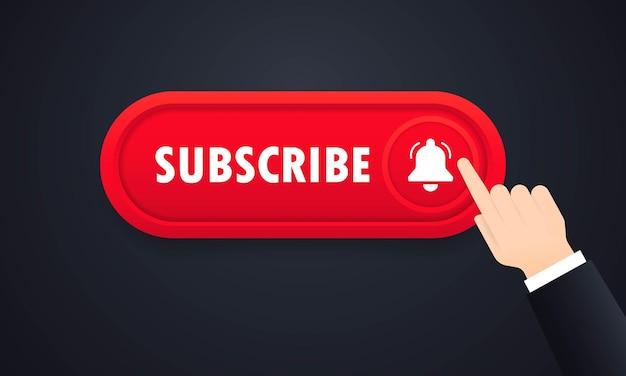 Bouton d'abonnement. abonnement au canal. concept de médias sociaux. vecteur sur fond blanc isolé. eps 10.