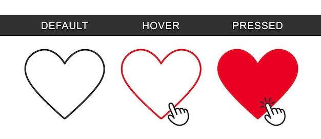 Bouton ajouter aux favoris. icône de forme de coeur de vecteur pour la conception de sites web, la boutique en ligne et l'application. icône de coeur plat moderne.