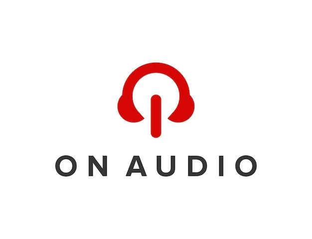 Bouton d'alimentation avec casque audio conception de logo moderne géométrique créatif simple et élégant