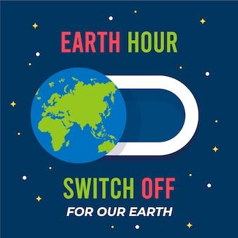 Bouton d'arrêt de l'heure de la terre design plat