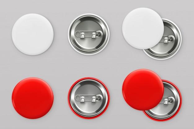 Bouton badges.in blanc et rouge vierge. 3d réaliste p
