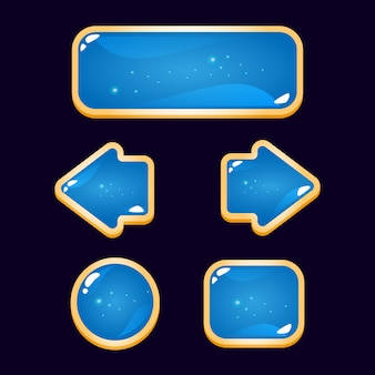 Bouton bleu drôle de gui avec bordure dorée