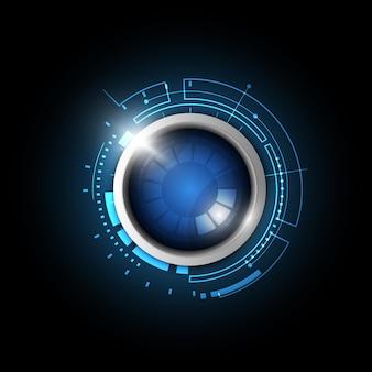 Bouton bleu de la technologie