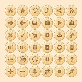 Bouton en bois icône gui pour les jeux.