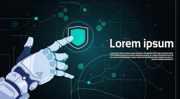Bouton de bouclier tactile main tactile sur écran numérique concept de protection des données bannière