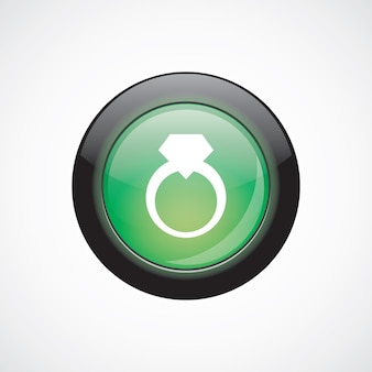 Bouton brillant vert d'icône de signe de verre d'anneau de bijoux. bouton du site web de l'interface utilisateur