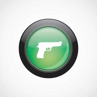 Bouton brillant vert d'icône de signe de verre d'arme à feu. bouton du site web de l'interface utilisateur