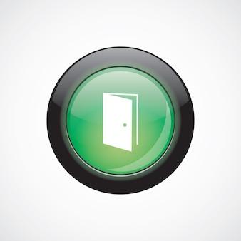 Bouton brillant vert d'icône de signe de verre de porte ouverte. bouton du site web de l'interface utilisateur