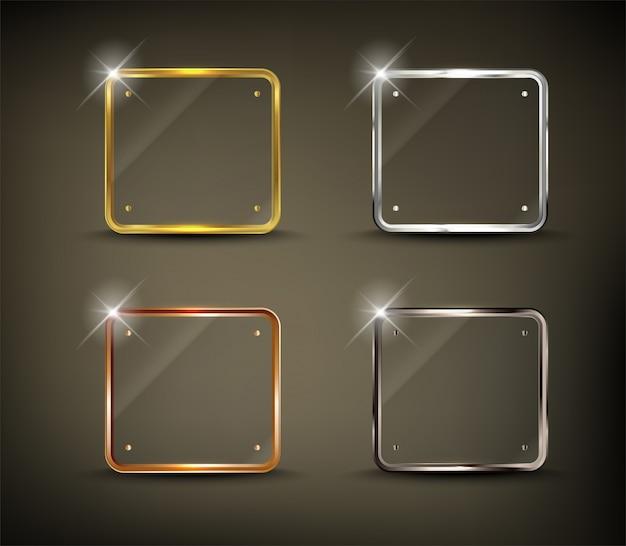 Bouton carré web brillant or