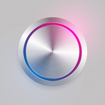 Bouton circulaire réaliste en métal brossé 3d