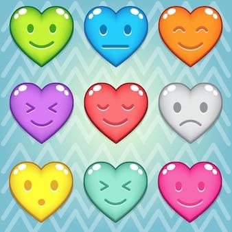 Bouton coloré puzzle de bloc de bonbons coeur
