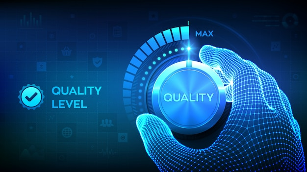 Bouton de contrôle des niveaux de qualité. main filaire en tournant un bouton de niveau de qualité à la position maximale.