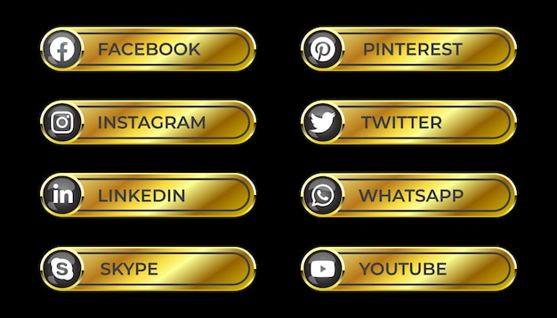 Bouton de dégradé de médias sociaux 3d brillant solide doré serti d'icône ronde de facebook instagram linkedin pinterest skype twitter whatsapp youtube pour ux ui et utilisation en ligne