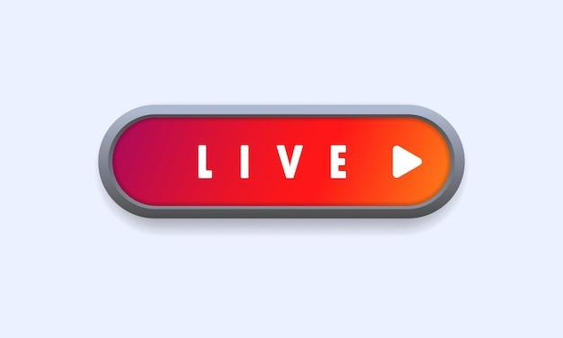 Bouton en direct. diffusion en direct, webinaire en ligne, cours, didacticiel vidéo. vecteur sur fond blanc isolé. eps 10.