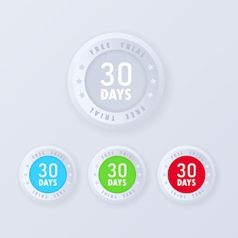 Bouton d'essai gratuit de 30 jours en illustration de style 3d. badges d'essai gratuits, jeu d'icônes.
