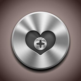 Bouton favori en métal réaliste avec traitement circulaire
