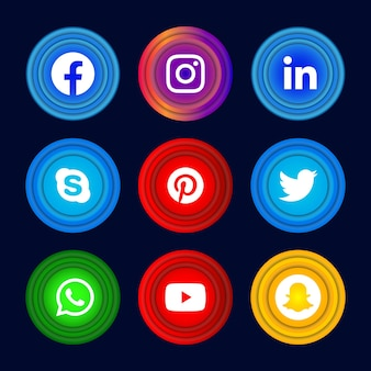 Bouton d'icône de médias sociaux rond 3d de facebook instagram linkedin skype pinterest twitter whatsapp youtube et snapchat avec jeu d'effets de dégradé.