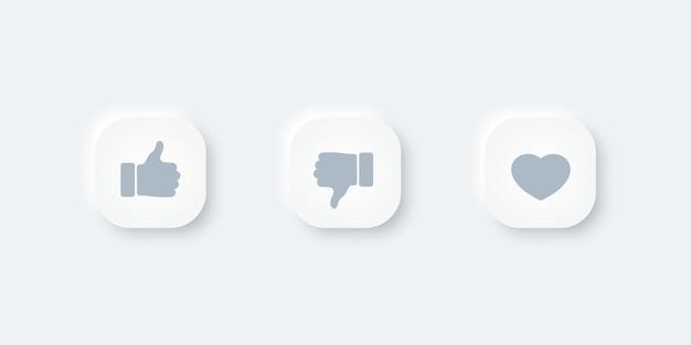Bouton d'icônes thumbs up et coeur. conception de vecteur