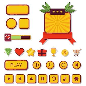 Bouton de jeu et élément web du kit d'interface utilisateur pour le jeu de dessin animé d'application isolé sur fond blanc.