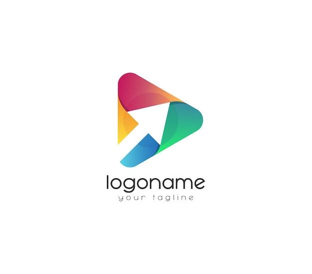 Bouton de lecture cliquez sur le logo vecteur premium