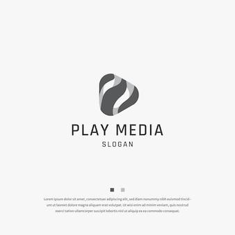 Bouton de lecture media tech logo icône modèle de conception vecteur plat