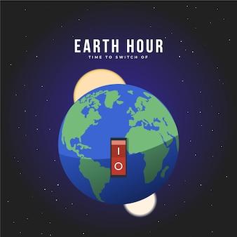 Bouton marche / arrêt heure de la terre design plat