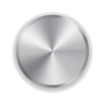 Bouton en métal pour l'électronique domestique isolé sur blanc