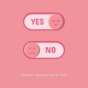 Bouton oui et non à choisir pour la saint valentin