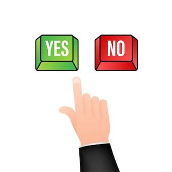 Bouton oui et non. notion de rétroaction. concept de rétroaction positive. icône du bouton de choix. illustration vectorielle